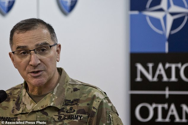 NATO's Supreme Allied Commander for Europe (SACEUR) U.S General Curtis Scaparrotti, speaks during a press conference at the KFOR military headquarters in Pristina in Kosovo capital Pristina on Tuesday, Feb. 21, 2017 during his visit to Kosovo. (AP Photo/Visar Kryeziu)