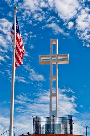 20110106_1631. American flag and latin cross at Mt. Soledad war memorial in La Jolla,California