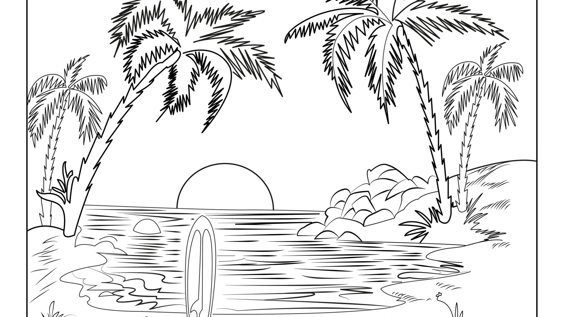 Winter Landscape Coloring Pages at GetColorings.com | Free ...