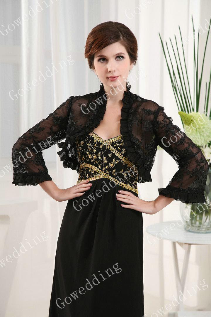 Black evening dress with jacket