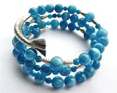 Mermaid's Tail -- Blue Agate and Hill tribe silver memory wire bracelet - BlushingMermaid