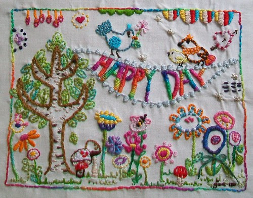 Happy Day sampler done by Gina2424
