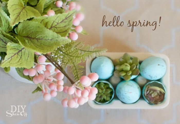 Freshen up your home with spring decor! DIY tutorial for spring succulents arrangement! #michaelsmaker