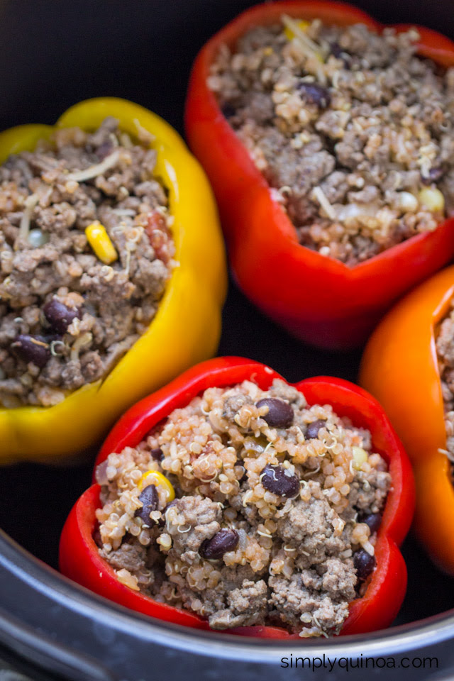 Crockpot Stuffed Peppers with Quinoa Recipe | Healthy ...