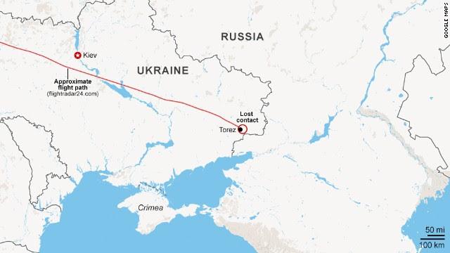 Карта: Приблизительный маршрут MH17