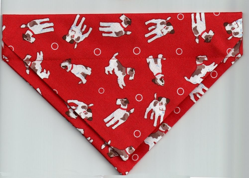 Wire Fox Terriers at Play on Red - Medium Pet Bandana