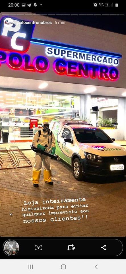 NOBRES: Supermercado Polo Centro de Nobres passsa por desinfecção