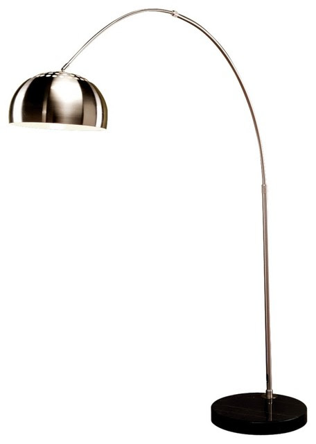 Contemporary Chrome Arch Black Marble Base Floor Lamp ...