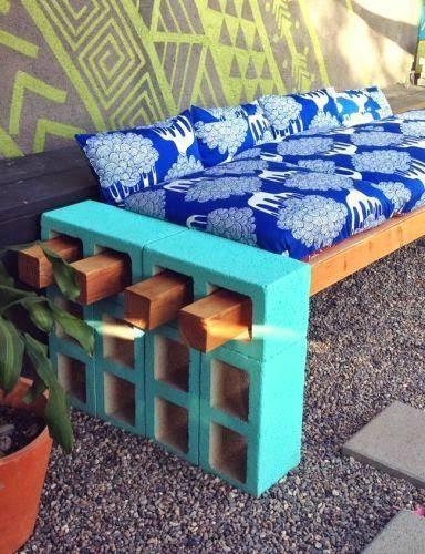 DIY Outdoor Cinder Block Bench