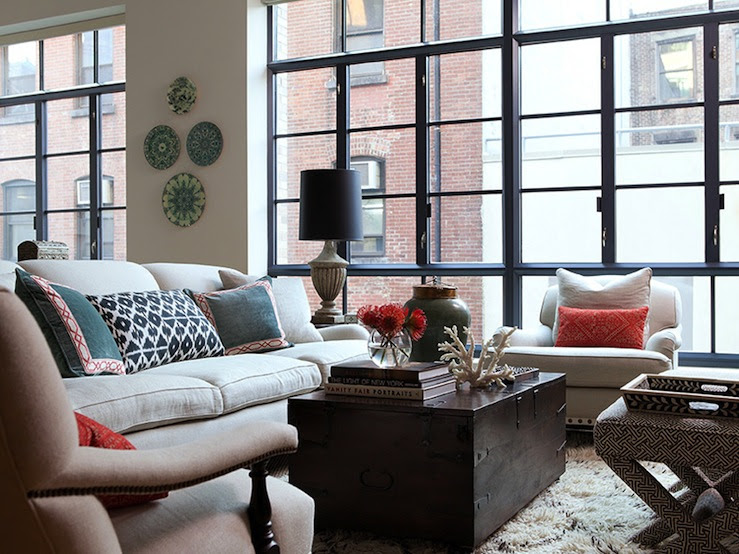 : Jenny Wolf Interiors    Chic city living room with ivory sofa & chairs, espresso satined ...