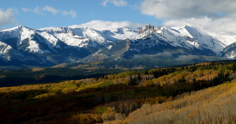 An early autumn snow blankets the higher realms of the West Elk Mountains.