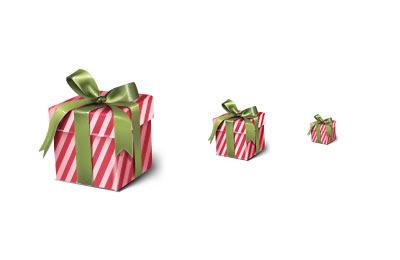 フリー素材 ストライプ柄の包装紙のプレゼント箱のイラストアイコン素材