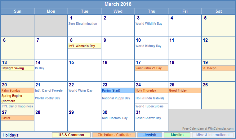 holidays in march. March 2016 Calendar with