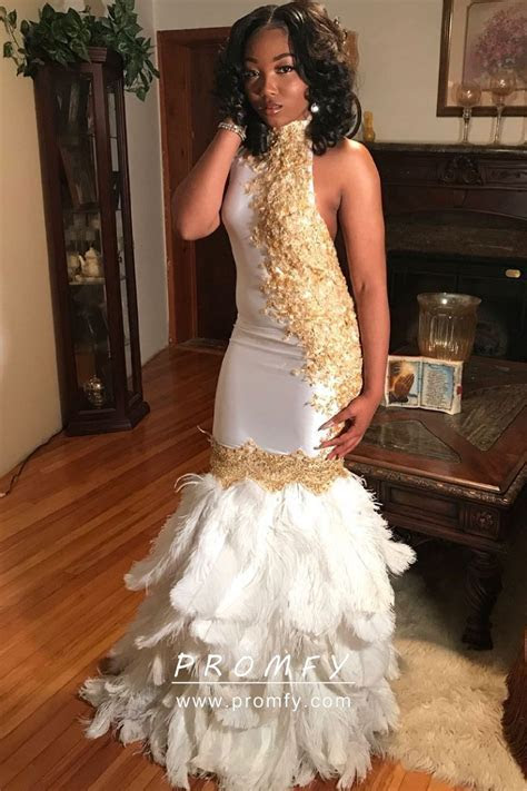 Unique Gold Lace Appliqued High Neck White Feather Mermaid