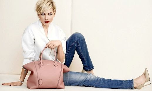 Le Fashion Blog Michelle Williams Louis Vuitton SS 2014 Campaign White Top Jeans Pink Leather Tote Bag Nude Heels Pumps Short Blonde Hair Haircut Beauty Lipstick Photographer Peter Lindbergh 11 photo Le-Fashion-Blog-Michelle-Williams-Louis-Vuitton-SS-2014-Campaign-Jeans-Pink-Bag-11.jpg