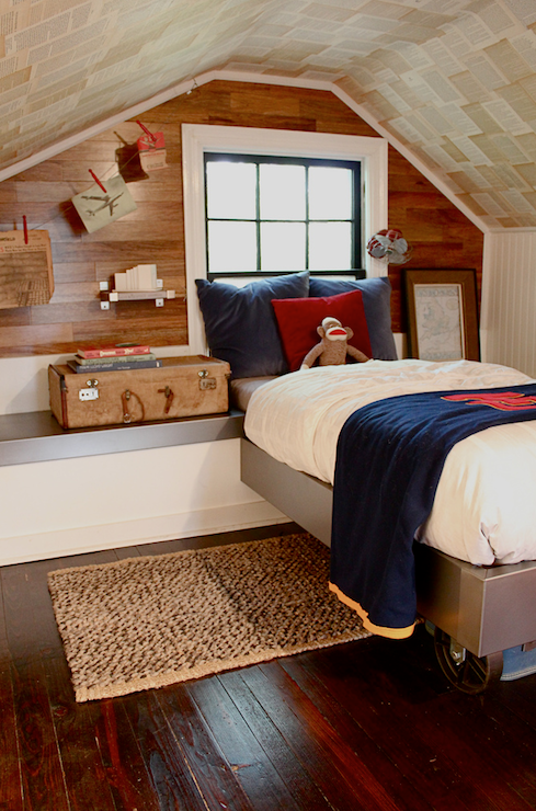 Vintage Paper Ceiling - Vintage - bedroom - Kara Paslay Designs