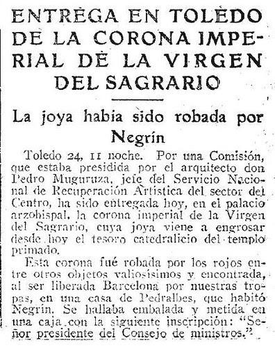 Noticia de la entrega de la Corona de la Virgen del Sagrario. Abc 25 agosto 1939