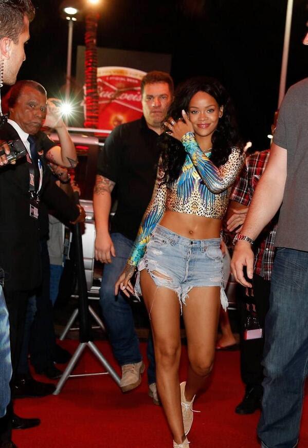 Rihanna's Brazil Cia Maritima Leopard and Blue Bird Print Swimsuit Crop Top