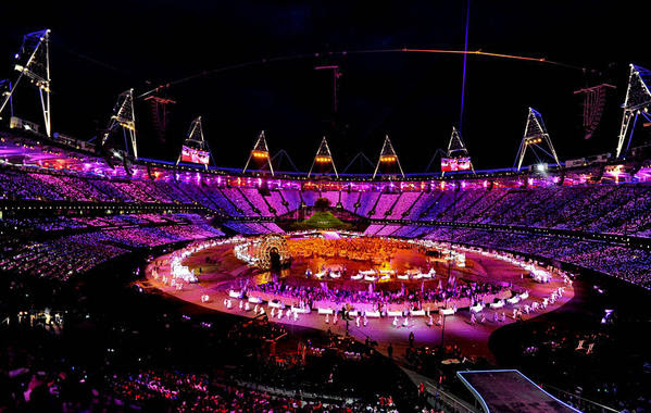 An overview of Olympic Stadium during the opening ceremony for the 2012 Summer Games in London on Friday.