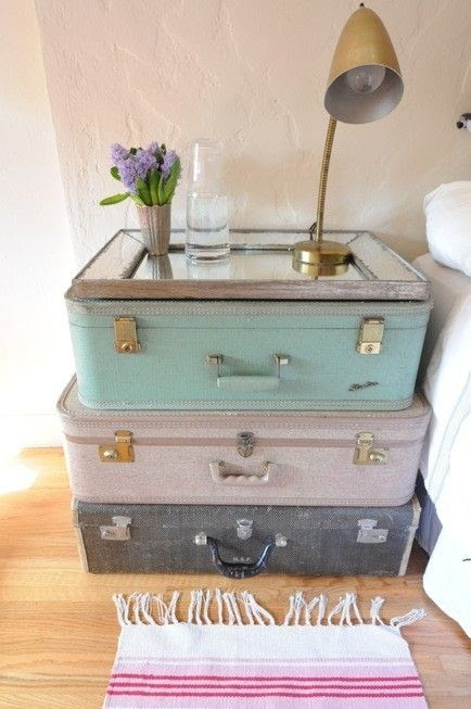 Repurposed suitcases - side table for guest room