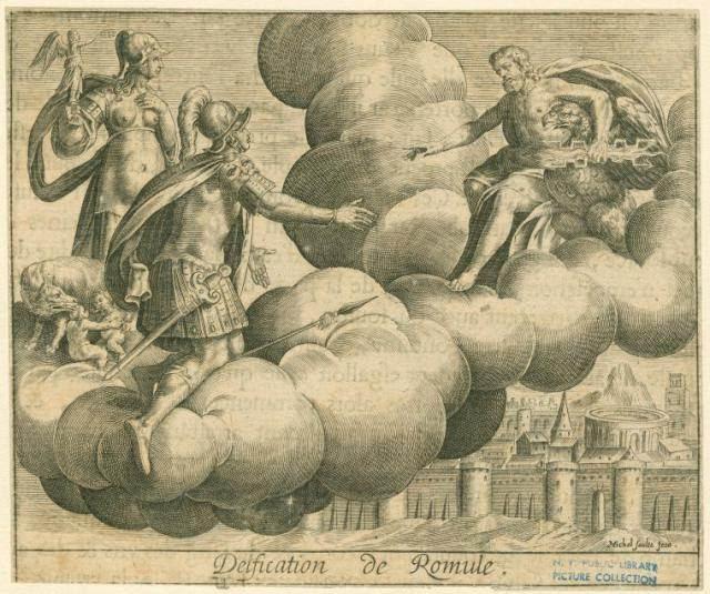 Esta imagen del siglo 17 muestra al dios Júpiter sobre una nube voladora dándole la bienvenida al rey Rómulo, quién a partir de su apoteosis será conocido como Quirino.