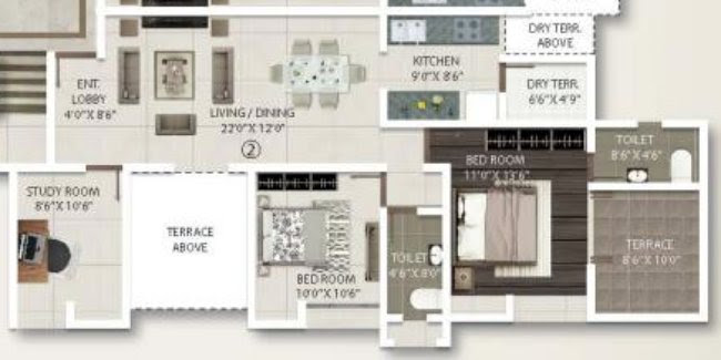 2.5 BHK Flat - 855 sq.ft. Carpet + Terrace - A Building - Even Floors - Gini Viviana, Balewadi, Pune 411 045