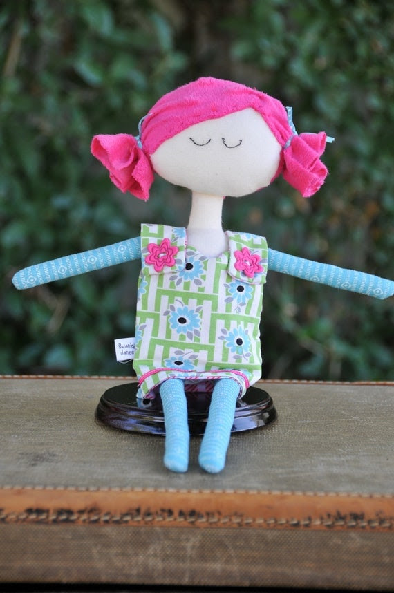 Cloth doll , baby to toddler, whimsical, soft doll, by Swanky Janes