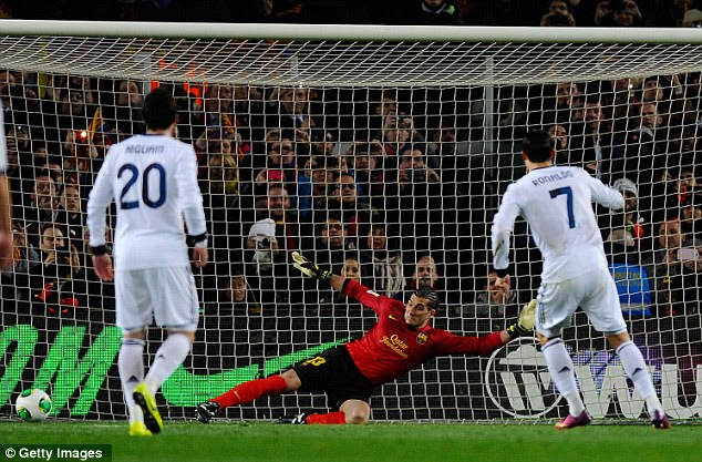 Lead: Ronaldo sent Jose Manuel Pinto the wrong way to open the scoring from the spot