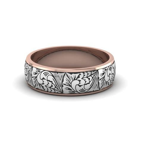 Engraved Two Tone Wedding Band In 18K Rose Gold