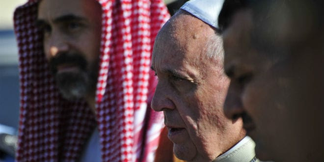 Pope Francis visiting the Temple Mount and meeting the Muslim clerics and Catholic cardinals, Jordan's Prince Ghazi, chief adviser to the king for religious and cultural affairs, May 2014. (Roman Yanushevsky / Shutterstock.com)
