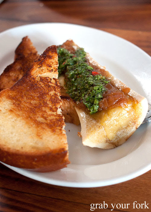 bone marrow with chimichurri and toast at animal restaurant los angeles by jon shook and vinny dotolo