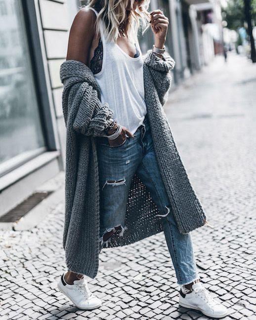 Le Fashion Blog Chunky Long Cardigan Sweater Loose Denim Sneakers Lace Cami Via Mikuta