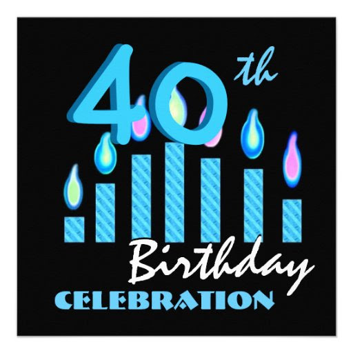 """40th Birthday Party Invitation Blue Candles 5.25"""" Square ..."""