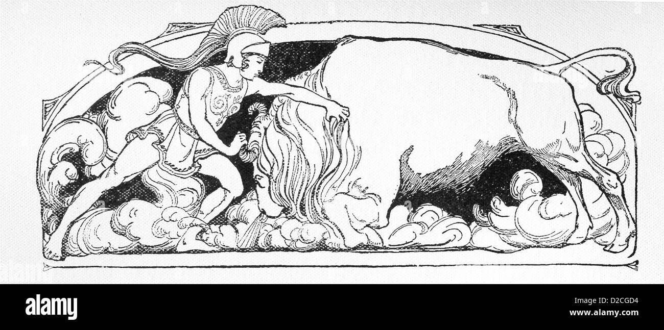 In ancient Greek mythology, the Greek hero Jason sought the Golden Fleece in Colchis and there had to yoke a bull. Stock Photo