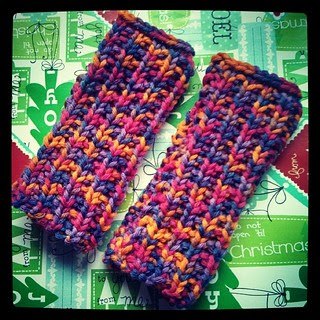 Another set of bulky gauntlets off the needles for a Christmas gift #knitting #handmade #knitstagram