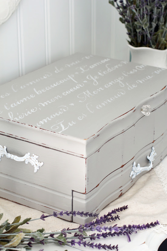 Upcycle an old flatware box into a romantic jewelry box