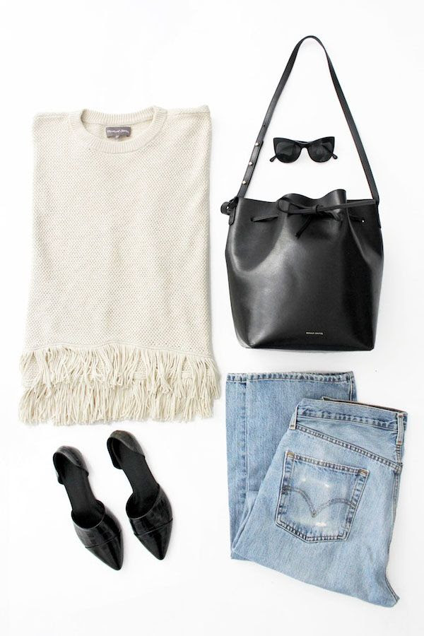 Le Fashion Blog Michael Stars Fringed Top Elizabeth James Cat Eye Sunglasses Mansur Gavriel Bucket Bag Levis 501 Jeans Jenni Kayne Flats Casual Spring Summer Flat Lay