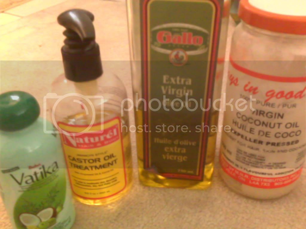 Hairlicious: Dabur Vatika Oil, Jamaican Castor oil, EVOO, Coconut Oil