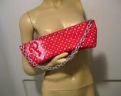 """Hand Painted Philles Logo on Upcycled Polka Dot """"DD"""" Clutch"""