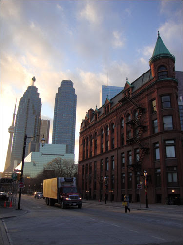 Flatiron building, CN tower and skyscrapers from Front Street