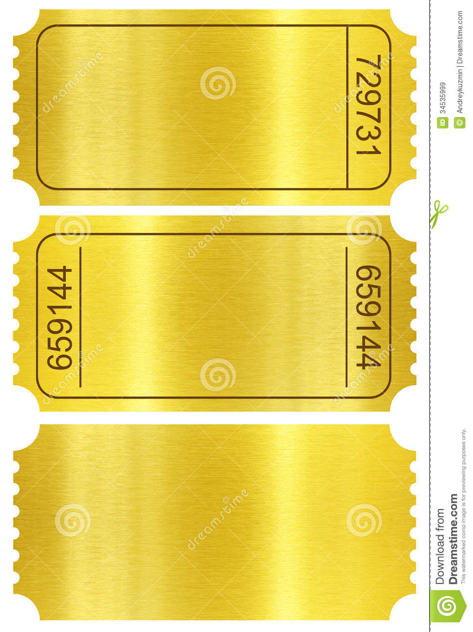 Ticket Set. Golden Ticket Stubs Isolated On White Royalty Free ...