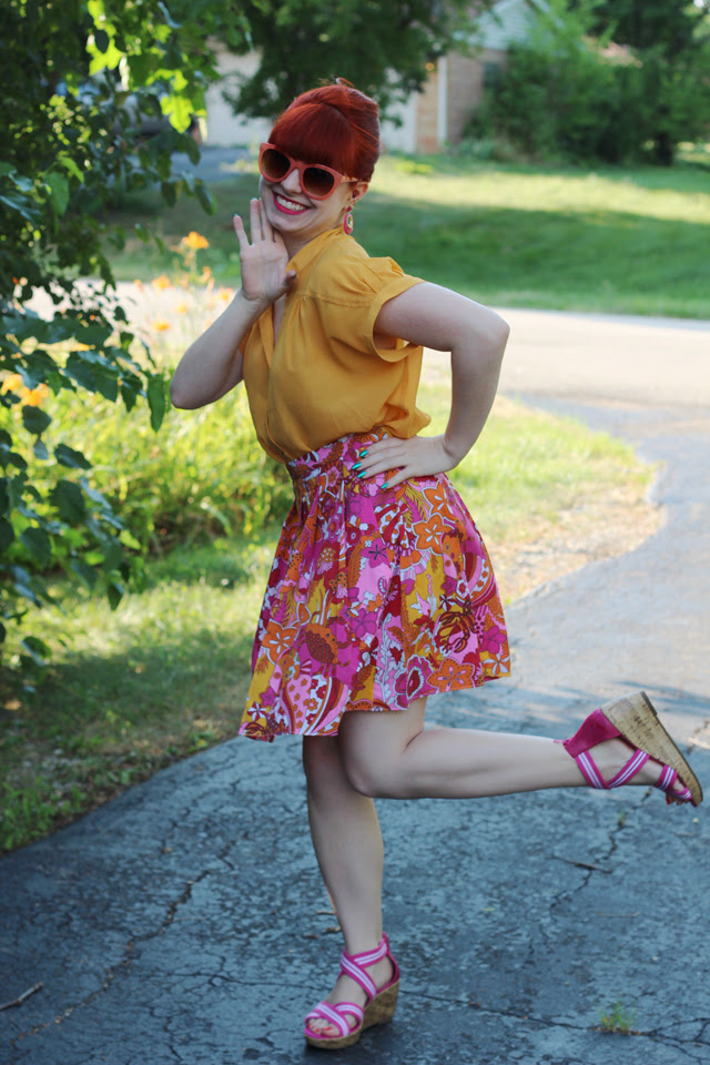 Yellow Blouse, Tropical Pleated Skirt, Bouffant