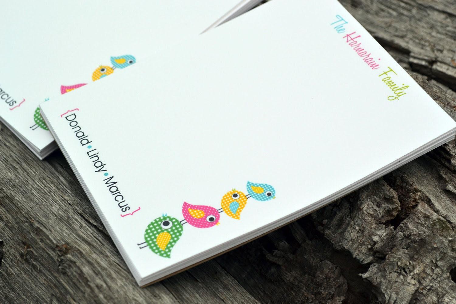 Personalized Family Notepads Set of 2 Little Birdies Design