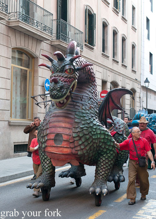 Dragon float being wheeled to the start of the Correfoc Fire Run for La Merce 2013