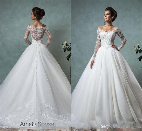 Discount 2017 Beach Vintage Long Sleeve Wedding Dresses