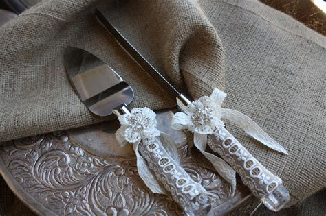 Wedding Cake Server And Knife Set   Country Rustic Chic
