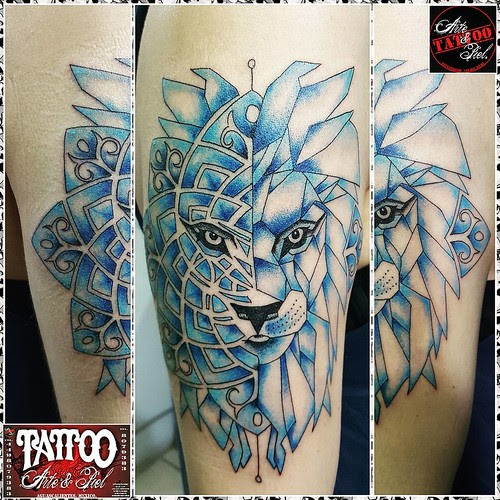 Leon Simetria Mandala Color Brazo Tattooarteypiel Tatuajes