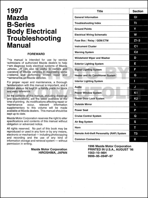 1997 Mazda Truck Body Electrical Troubleshooting Manual ...