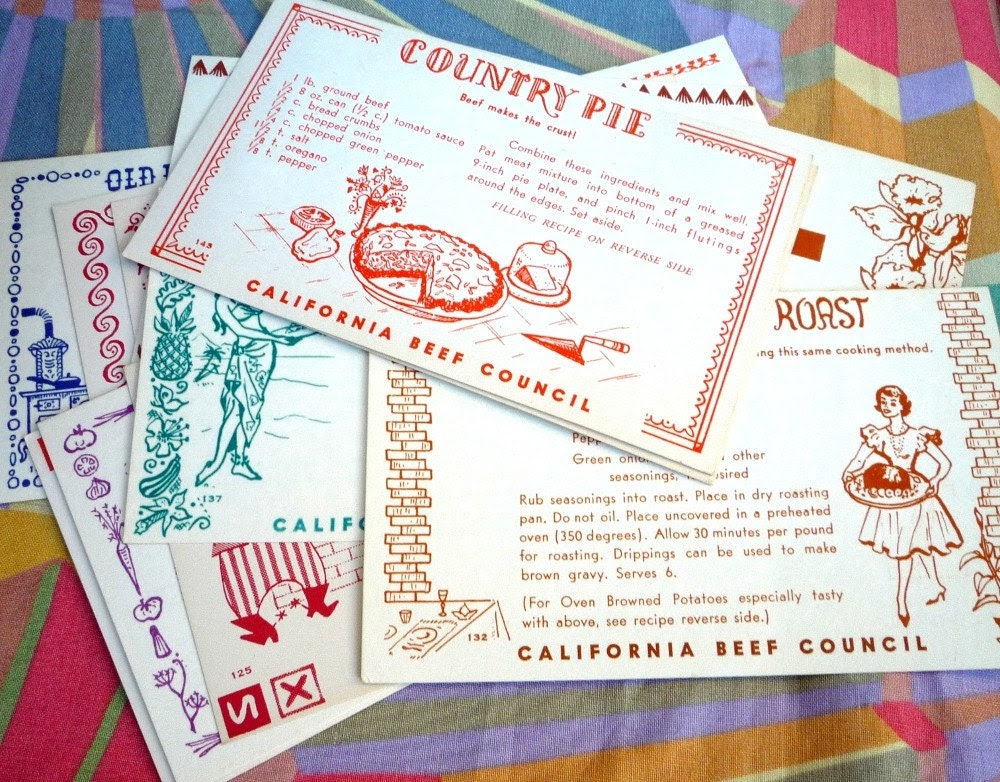 13 Vintage Recipe Cards 1950s or 1960's