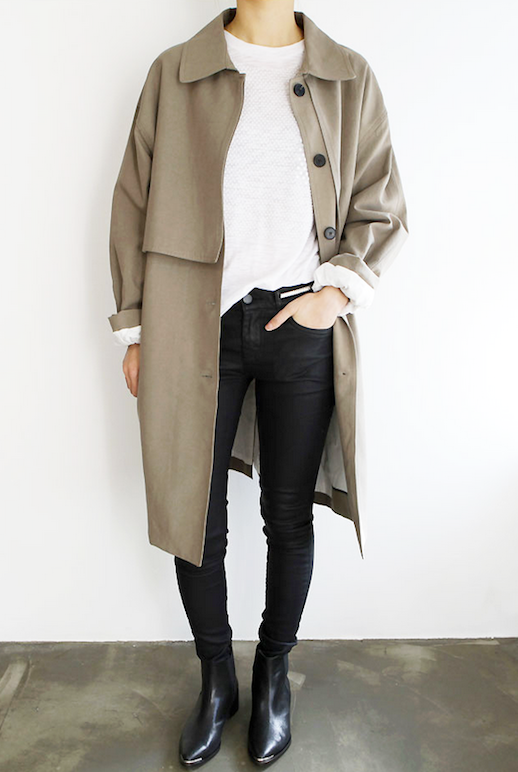 Le Fashion Blog Long Trench Coat Black Coated Skinny Jeans Leather Ankle Boots Via Death By Elocution